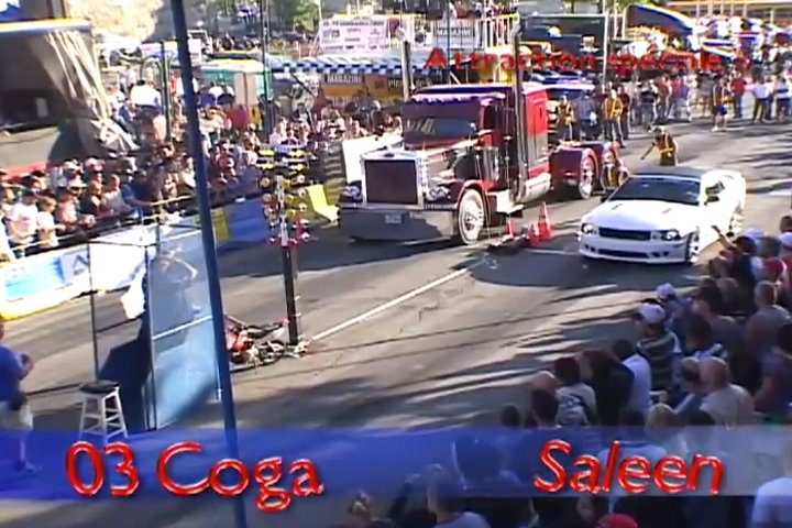 VIDEO: Big Rig Versus Saleen Mustang in Saint-Joseph, Quebec
