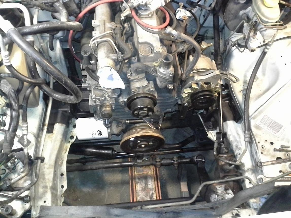Diesel Swaps What About A Kubota Heres How It Can Be Done V1505 Engines Diagrams The Engine And Trans Installed Left In Cherokee Look At All That Room After Fabricating Motor Mounts Dieselxjs Intercooler Setup Right Works